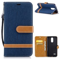 Jeans Cowboy Denim Leather Wallet Case for LG K4 (2017) M160 Phoenix3 Fortune - Dark Blue