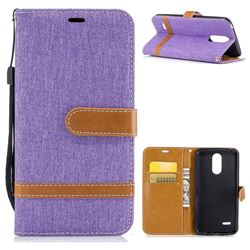 Jeans Cowboy Denim Leather Wallet Case for LG K4 (2017) M160 Phoenix3 Fortune - Purple