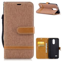 Jeans Cowboy Denim Leather Wallet Case for LG K4 (2017) M160 Phoenix3 Fortune - Brown