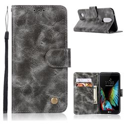 Luxury Retro Leather Wallet Case for LG K4 (2017) M160 Phoenix3 Fortune - Gray