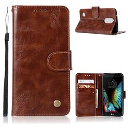 Luxury Retro Leather Wallet Case for LG K4 (2017) M160 Phoenix3 Fortune - Brown