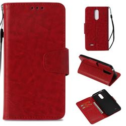 Retro Phantom Smooth PU Leather Wallet Holster Case for LG K4 (2017) M160 Phoenix3 Fortune - Red