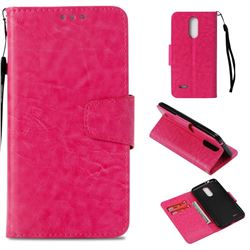 Retro Phantom Smooth PU Leather Wallet Holster Case for LG K4 (2017) M160 Phoenix3 Fortune - Rose