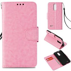 Retro Phantom Smooth PU Leather Wallet Holster Case for LG K4 (2017) M160 Phoenix3 Fortune - Pink