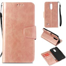 Retro Phantom Smooth PU Leather Wallet Holster Case for LG K4 (2017) M160 Phoenix3 Fortune - Rose Gold