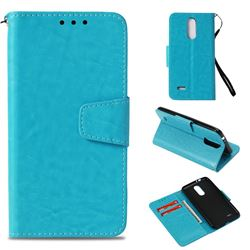 Retro Phantom Smooth PU Leather Wallet Holster Case for LG K4 (2017) M160 Phoenix3 Fortune - Sky Blue