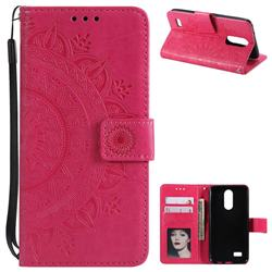 Intricate Embossing Datura Leather Wallet Case for LG K4 (2017) M160 Phoenix3 Fortune - Rose Red