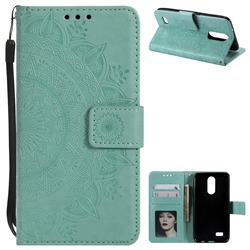 Intricate Embossing Datura Leather Wallet Case for LG K4 (2017) M160 Phoenix3 Fortune - Mint Green