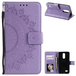 Intricate Embossing Datura Leather Wallet Case for LG K4 (2017) M160 Phoenix3 Fortune - Purple
