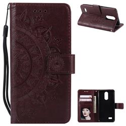 Intricate Embossing Datura Leather Wallet Case for LG K4 (2017) M160 Phoenix3 Fortune - Brown