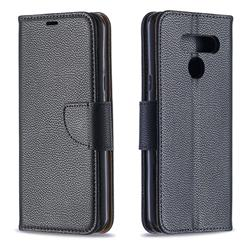 Classic Luxury Litchi Leather Phone Wallet Case for LG K50 - Black