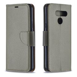 Classic Luxury Litchi Leather Phone Wallet Case for LG K50 - Gray