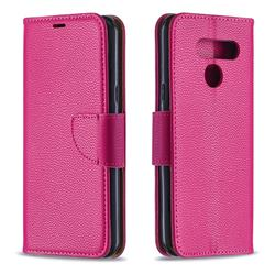 Classic Luxury Litchi Leather Phone Wallet Case for LG K50 - Rose