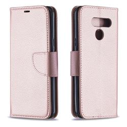 Classic Luxury Litchi Leather Phone Wallet Case for LG K50 - Golden
