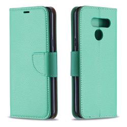 Classic Luxury Litchi Leather Phone Wallet Case for LG K50 - Green
