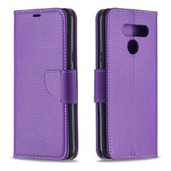 Classic Luxury Litchi Leather Phone Wallet Case for LG K50 - Purple