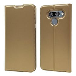 Ultra Slim Card Magnetic Automatic Suction Leather Wallet Case for LG K50 - Champagne
