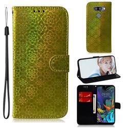 Laser Circle Shining Leather Wallet Phone Case for LG K50 - Golden