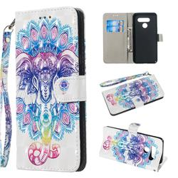 Colorful Elephant 3D Painted Leather Wallet Phone Case for LG K50