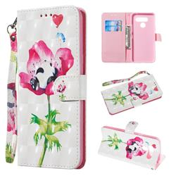 Flower Panda 3D Painted Leather Wallet Phone Case for LG K50