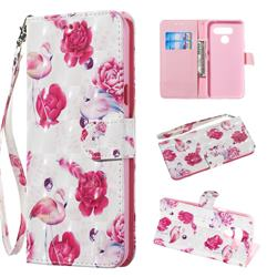 Flamingo 3D Painted Leather Wallet Phone Case for LG K50