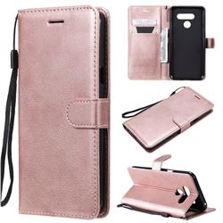 Retro Greek Classic Smooth PU Leather Wallet Phone Case for LG K50 - Rose Gold