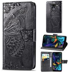 Embossing Mandala Flower Butterfly Leather Wallet Case for LG K50 - Black