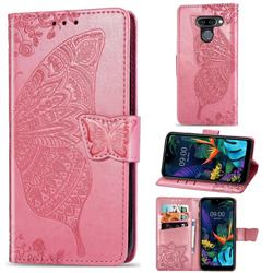 Embossing Mandala Flower Butterfly Leather Wallet Case for LG K50 - Pink