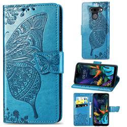 Embossing Mandala Flower Butterfly Leather Wallet Case for LG K50 - Blue