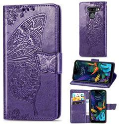 Embossing Mandala Flower Butterfly Leather Wallet Case for LG K50 - Dark Purple