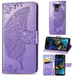 Embossing Mandala Flower Butterfly Leather Wallet Case for LG K50 - Light Purple