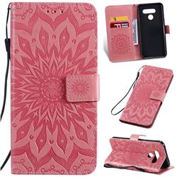 Embossing Sunflower Leather Wallet Case for LG K50 - Pink