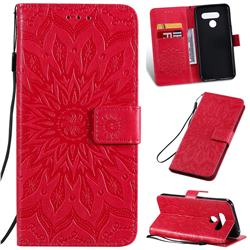 Embossing Sunflower Leather Wallet Case for LG K50 - Red
