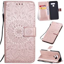 Embossing Sunflower Leather Wallet Case for LG K50 - Rose Gold