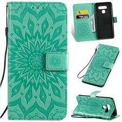 Embossing Sunflower Leather Wallet Case for LG K50 - Green