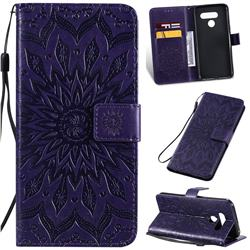 Embossing Sunflower Leather Wallet Case for LG K50 - Purple