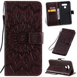 Embossing Sunflower Leather Wallet Case for LG K50 - Brown
