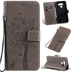 Embossing Butterfly Tree Leather Wallet Case for LG K50 - Grey