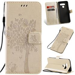 Embossing Butterfly Tree Leather Wallet Case for LG K50 - Champagne