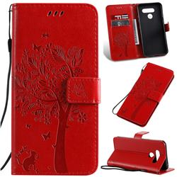 Embossing Butterfly Tree Leather Wallet Case for LG K50 - Red