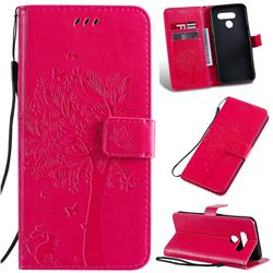 Embossing Butterfly Tree Leather Wallet Case for LG K50 - Rose