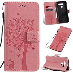 Embossing Butterfly Tree Leather Wallet Case for LG K50 - Pink