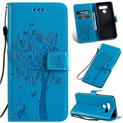 Embossing Butterfly Tree Leather Wallet Case for LG K50 - Blue