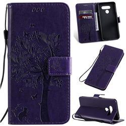 Embossing Butterfly Tree Leather Wallet Case for LG K50 - Purple