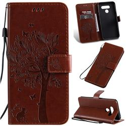 Embossing Butterfly Tree Leather Wallet Case for LG K50 - Coffee
