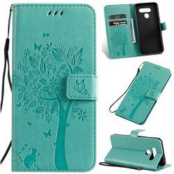 Embossing Butterfly Tree Leather Wallet Case for LG K50 - Cyan