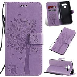 Embossing Butterfly Tree Leather Wallet Case for LG K50 - Violet
