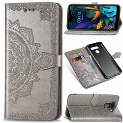 Embossing Imprint Mandala Flower Leather Wallet Case for LG K50 - Gray