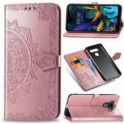Embossing Imprint Mandala Flower Leather Wallet Case for LG K50 - Rose Gold