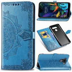 Embossing Imprint Mandala Flower Leather Wallet Case for LG K50 - Blue